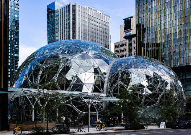 Il quartier generale di Amazon a Seattle (fonte: Biodin) © Ansa