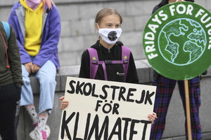 Swedish climate activist Greta Thunberg protests in front of the Swedish Parliament (ANSA)